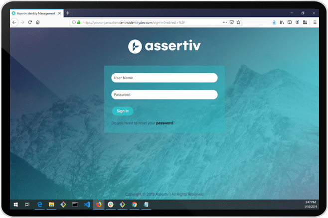Assertiv on a tablet device